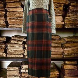 Lauren Ralph Lauren tartan wool wrap maxi skirt.
